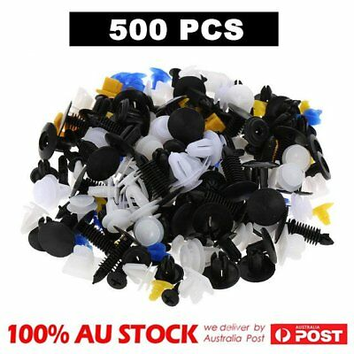 500pcs Car Plastic Rivet Fasteners Push Pin Bumper Fender Panel Clips Kit AU