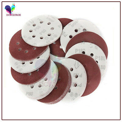 "10 x 5"" 125mm Round Sanding Disc Pads 8 Hole Sandpaper 60 - 400 GRIT UK STOCK"