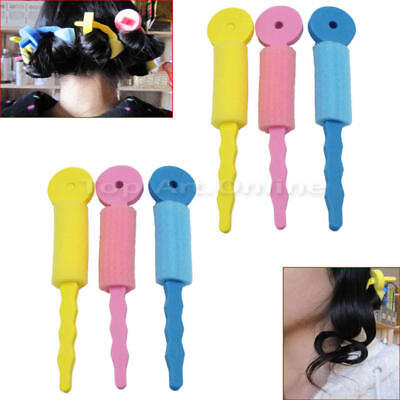6 Pieces Women's Hair Roller Magic Sponge Curler Curly Roll Tools Conv IOS