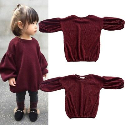 Toddler Baby Girls Long Sleeve Warm Knitted Sweater Tops Blouse Shirt Pullover