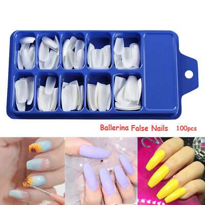 100pcs Professional Fake Nails Long Ballerina Half French Acrylic Nail Tips