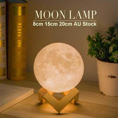 LED 3D Magical Moon Lamp USB Dimmable Night Light Moonlight Touch Sensor Gift