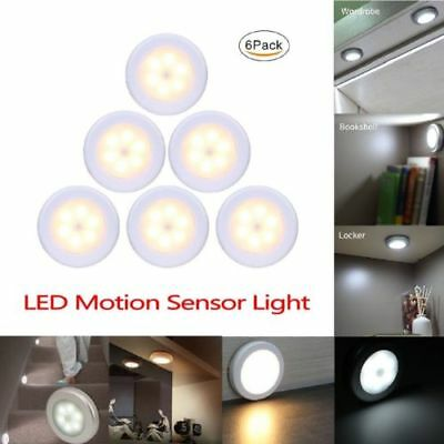 6 LED Round Motion Sensor Night Lamp Magnetic Closet Battery Stair Light