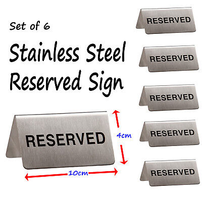 Set of 6 - Reserved Booking Table Sign Stainless Steel Cafe Bistro Restaurant