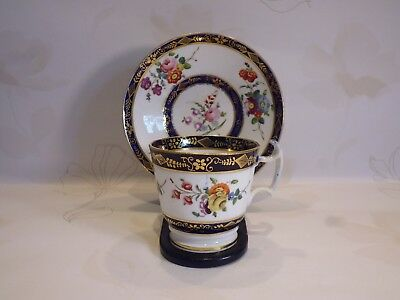 Antique Georgian English Porcelain Coffee Cup & Saucer - London Shape 1810-1820