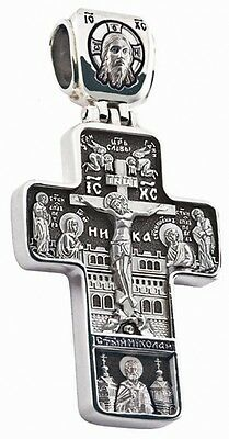 Russian Greek Orthodox 925 Silver Cross Pendant Jesus Christ