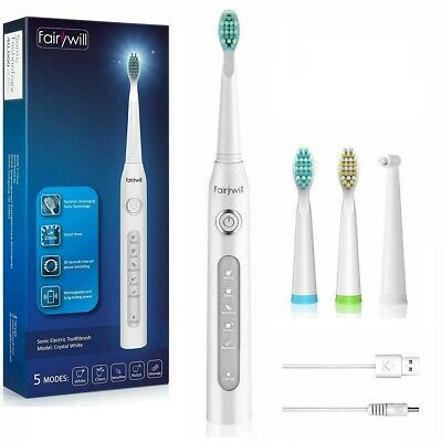 Fairywill 5 Modes Electric Toothbrush 2 Min Smart Timer 3 Replacement Heads Pink