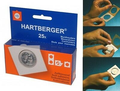 Hartberger Self adhesive coin holders - pack of 25 assorted sizes - new