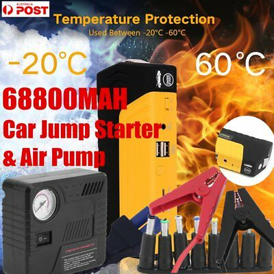 12V 68800mah Car Jump Starter Power Bank Vehicle Battery Charger W/ Air Pump PS
