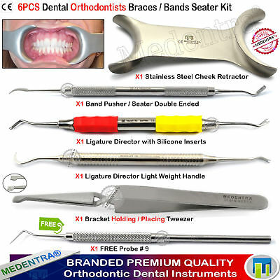 Orthodontics Band Seating Tools Ligature Directors Pusher Bracket Tweezers 6Pcs