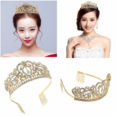 Wedding Bridal Tiara w/ Comb Rhinestones Crystal Headband Pageant Princess Crown