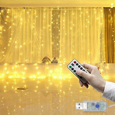 300 LED 8 Mode Curtain Fairy Lights USB String Hanging Wall Lights Wedding Party