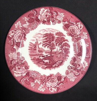 """Wood & Sons Enoch Wood's English Scenery Pink Red 9"""" Luncheon Plate EUC (c)"""
