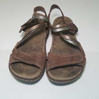 f54b09757ea Taos Womens Sandals Size 8 Prize Slip On Slide Leather Sandal Metallic O3.