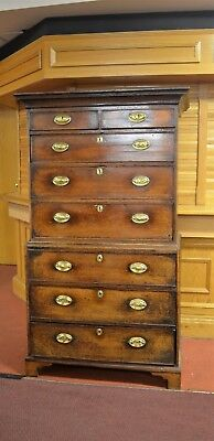 Genuine Antique Georgian Oak Tall Boy Chest Of Drawers