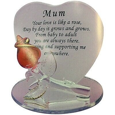 Red Rose Mum LOVE Glass Plaque Gift