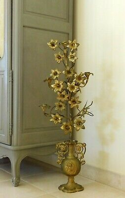 Huge Antique French Bronze Church Candelabra 35 Inches Tall Decorative Urn Base