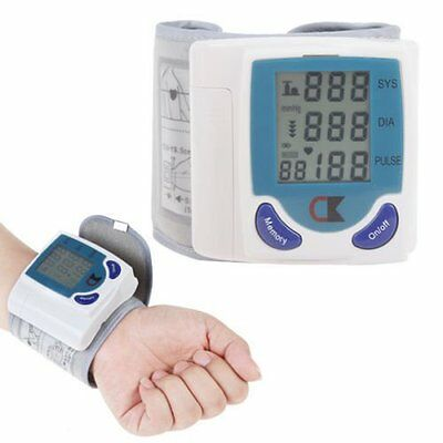 Digital LCD Wrist Cuff Arm Blood Pressure Monitor Heart Beat Meter Machine@3@