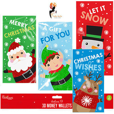 Christmas Money Wallets Hand Crafted 4 Pack Kids Xmas Festive Party Bag Filler