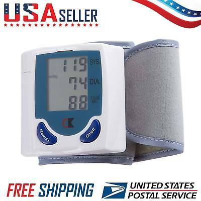 LCD Digital Wrist Blood Pressure Monitor Heart Rate Beat Pulse Meter Measure LCV