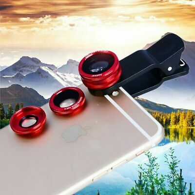Universal Wide Angle+Fish Eye+Macro 3in1 Clip On Camera Lens Kit For Cell Phone