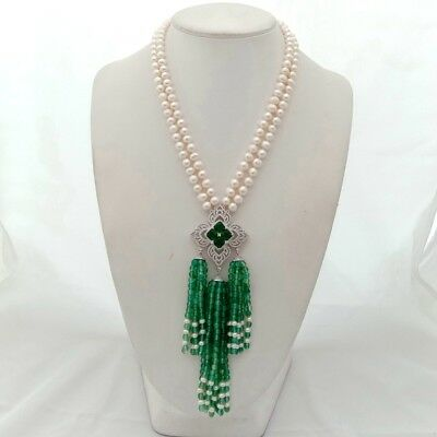 gold plated Cz Pave Green Agate Pendant 2strds White freshwater Pearl Necklace