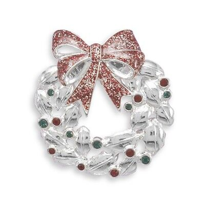 Christmas Wreath Pin Brooch Accented with Red and Green Crystals