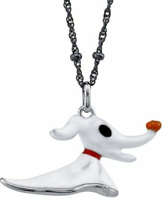 """20"""" Disney Nightmare Before Christmas Sterling Silver Zero Necklace"""