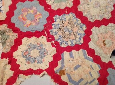 Antique Vintage Hand Stitched Quilt Scraps ~ Cutter Crafts~Projects from 30's