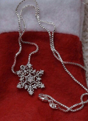 New 925 Sterling Silver Christmas Necklace With 925 Silver Box Chain Snowflake!