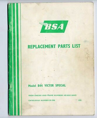 BSA B44 Victor Special 1970 catalogo ricambi originale spare part catalog