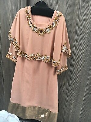Girls Luxury Indian Dress Cape Dress Nude Pink Diamanté  Age 4-5 Years Used Once