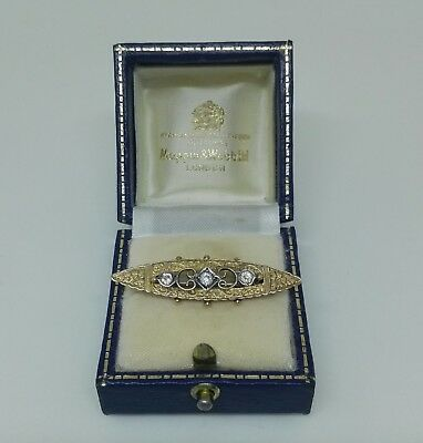 Heavy Gold Plated Victorian  Paste Bar Brooch Beautiful Floral Engraving