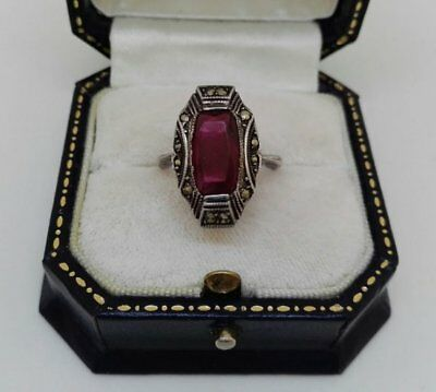 Marcasite And Paste Ruby Art Deco Silver Ring C1920 Very Downton Abbey Size M.