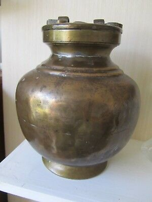 Antique Indian ? Brass Water Carrier Screw Lid & Handle 30 cm collectible Decor