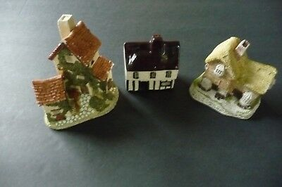 Vintage 3 English Cottages  2 by David Winter 1982 Hand Made and Hand Painted