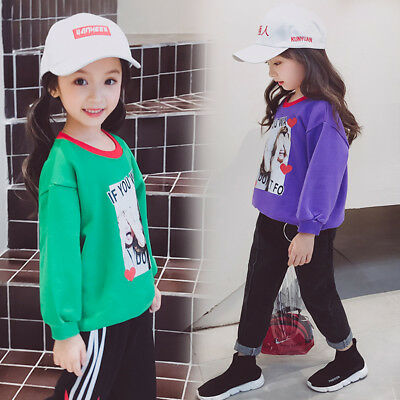 Unisex Toddler Boys Girls Long Sleeve O-Neck Letter Print Tops Outfits US K8