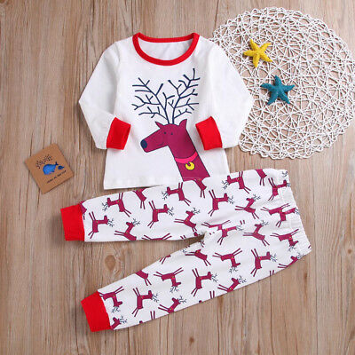 Toddler Baby Girls Boys Merry Christmas Reineer Top+Pants Outfit Clothes K8