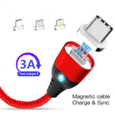 3 IN 1 Magnetic Micro USB/Type C /IOS Fast Charging Charger Data Sync Cable Cord