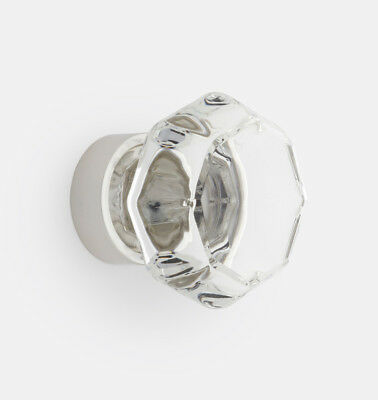 OCTAGON GLASS CABINET KNOB, Polished Nickel Base (Rejuvenation) -- 45