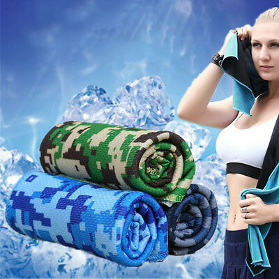 Uk_ Camouflage Sports Instant Cooling Towel Ice Cold Running Jogging Gym Towel S