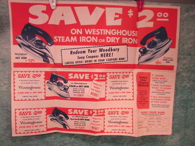 1950's Westinghouse Iron Steam Dry promotion advertising sign vintage Poster