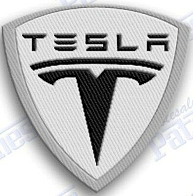 Tesla  IRON ON EMBROIDERed PATCHES  - 2.5 INCHes PATCH ELECTRIC  auto car sports