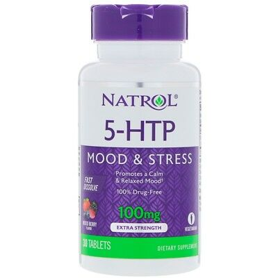 Natrol 5-Htp Fast Dissolve Extra Strength Wild Berry Flavor 100 Mg 30 Tablets