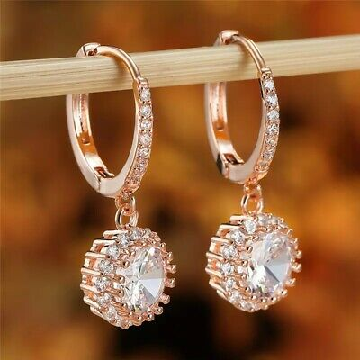 18K Real Rose Gold Filled Hoop Earrings Made With Swarovski Crystals Gift Rg20