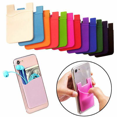 Sticker Pouch Holder Case Adhesive Silicone Credit Card Pocket  For Cell Phone