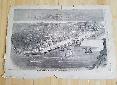 1862 antique Orleans Birds Eye View Captured by Union Forces