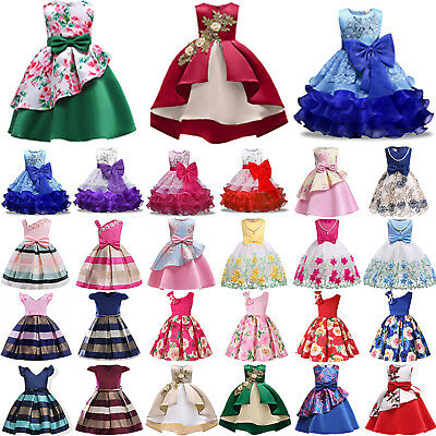 Flower Girls Princess Dress Kids Baby Party Wedding Pageant Formal Tutu 3-10Y