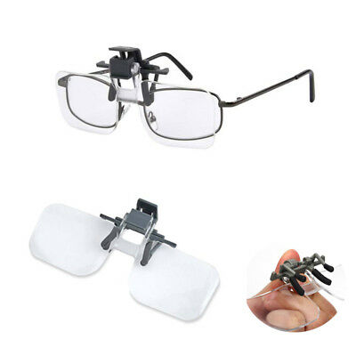 Clip On Flip Up 2x Magnifying Reading Glasses Acrylic Magnifier Loupe Lenses