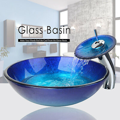 Blue Bathroom Round Vessel Sink Set Basin Tempered Glass Bowl W/Chrome Faucet